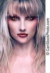retrato, de, um, bonito, loura, menina, vampiro
