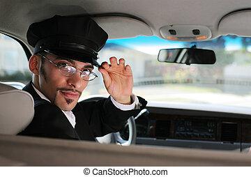 retrato, de, um, bonito, macho, chofer, sentando um carro, saudando, um, visualizador