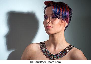 retrato, de, um, bonito, menina, com, cabelo tingido, profissional, cabelo, coloração
