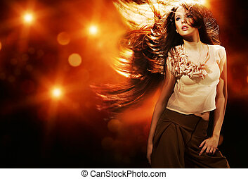 retrato, de, um, bonito, menina, com, voando, cabelo longo