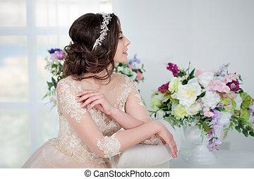 retrato, de, um, bonito, menina, em, um, casório, dress.,...