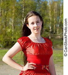 retrato, de, um, bonito, menina, em, um, vestido vermelho, com, dela, cabelo