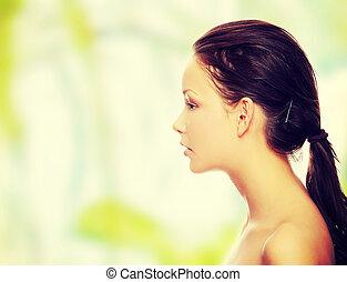 retrato, de, um, bonito, modelo