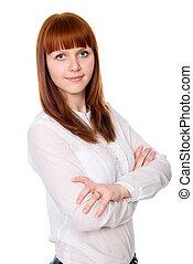 retrato, de, um, bonito, mulher jovem, com, braços dobrados