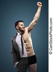 retrato, de, um, bonito, muscular, homem negócios