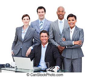 retrato, de, um, charismatic, multi-étnico, pessoas negócio