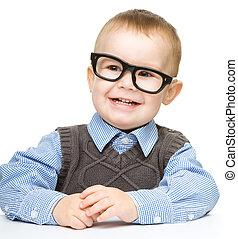 retrato, de, um, cute, óculos uso menininho