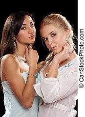 retrato, de, um, dois, bonito, mulheres jovens
