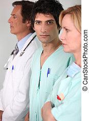 retrato, de, um, equipe médica