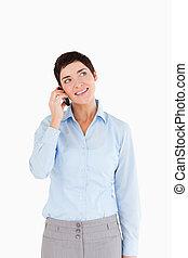 retrato, de, um, executiva, atendendo telefone