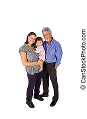 retrato, de, um, família feliz