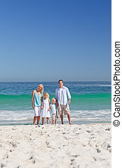 retrato, de, um, família, praia