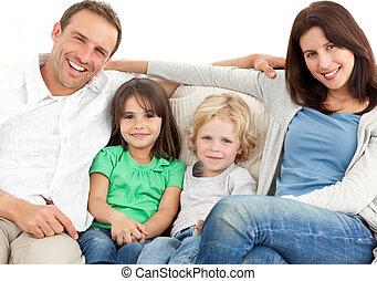 retrato, de, um, família, sofá
