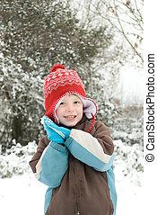 retrato, de, um, feliz, menino, ao ar livre, em, a, snow.