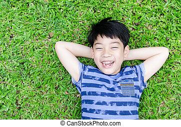 retrato, de, um, feliz, menino, parque