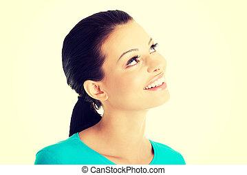 retrato, de, um, feliz, mulher jovem, olhar