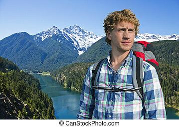 retrato, de, um, hiker