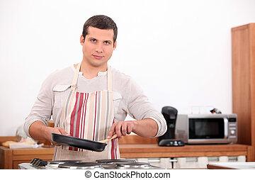 retrato, de, um, homem, em, cozinha
