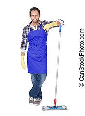 retrato, de, um, homem, limpeza, chão
