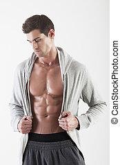 retrato, de, um, homem músculo, posar, em, estúdio