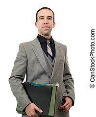 retrato, de, um, homem negócios