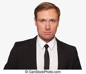 retrato, de, um, homem negócios, olhando câmera