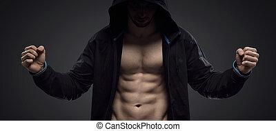 retrato, de, um, hooded, muscular, atleta