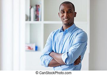retrato, de, um, jovem, americano africano, homem negócio, -, pretas, pessoas