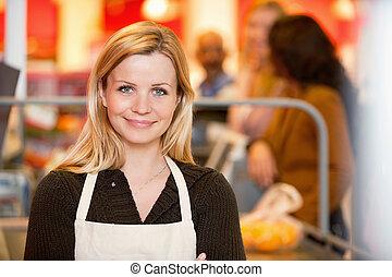 retrato, de, um, jovem, assistente loja