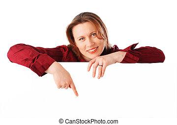 retrato, de, um, jovem, atraente, sorrindo, mulher negócio
