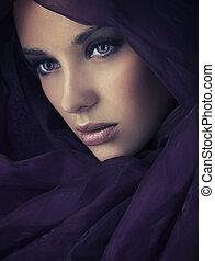 retrato, de, um, jovem, beleza, abundância, de, copy-space