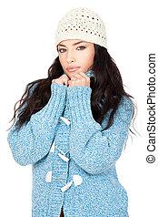 retrato, de, um, jovem, cabelo preto, mulher, em, um, azul, lã, suéter