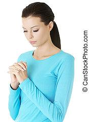 retrato, de, um, jovem, caucasiano, mulher rezando