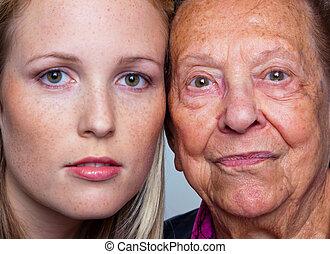 retrato, de, um, jovem, e, um, mulher velha