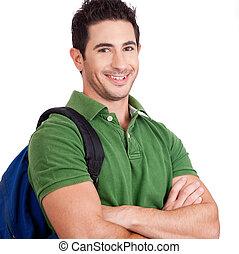 retrato, de, um, jovem, estudante, sorrindo