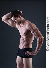retrato, de, um, jovem, excitado, shirtless, muscular, homem