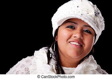 retrato, de, um, jovem, latim, mulher sorri, em, autumn/winter, roupas, isolado, ligado, white., tiro estúdio