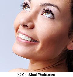 retrato, de, um, jovem, mulher feliz