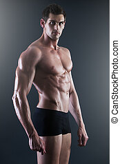 retrato, de, um, jovem, muscular, homem, em, roupa interior