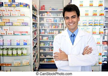 retrato, de, um, macho, farmacêutico, em, farmácia