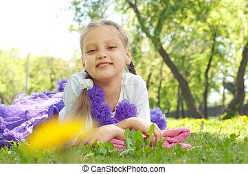 retrato, de, um, menina, em, um, verão, parque