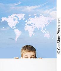 retrato, de, um, menino, com, mapa mundial, acima, cabeça