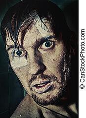 retrato, de, um, molhados, homem, com, loucos, olhos