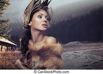 retrato, de, um, mulher bonita