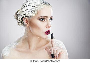 retrato, de, um, mulher bonita, com, criativo, maquilagem