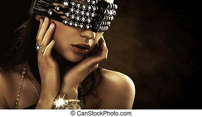 retrato, de, um, mulher, com, coberto, olhos