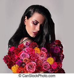 retrato, de, um, mulher, com, flowers.