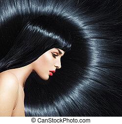 retrato, de, um, mulher, com, na moda, penteado