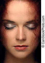 retrato, de, um, mulher, com, olhos fechados
