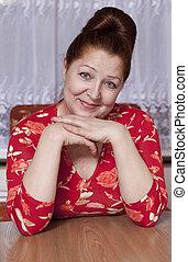 retrato, de, um, mulher idosa, casa
